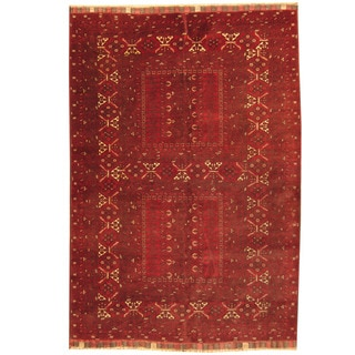 Herat Oriental Afghan Hand-knotted Tribal Turkoman Red/ Black Wool Rug (5'6 x 8'1)