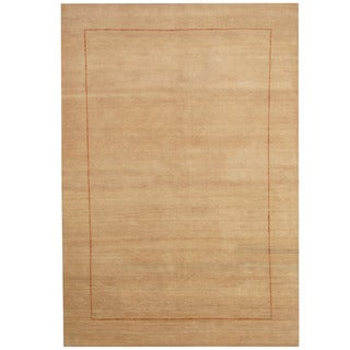 Herat Oriental Indo Hand-knotted Tribal Gabbeh Ivory/ Rust Wool Rug (5'4 x 7'9)