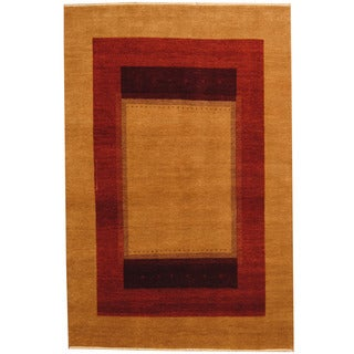 Herat Oriental Indo Hand-knotted Tribal Gabbeh Tan/ Rust Wool Rug (4'7 x 7')