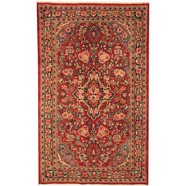 Herat Oriental Persian Hand-knotted Semi-antique Kashan Red/ Navy Wool Rug (4'2 x 6'8) - 4'2 x 6'8