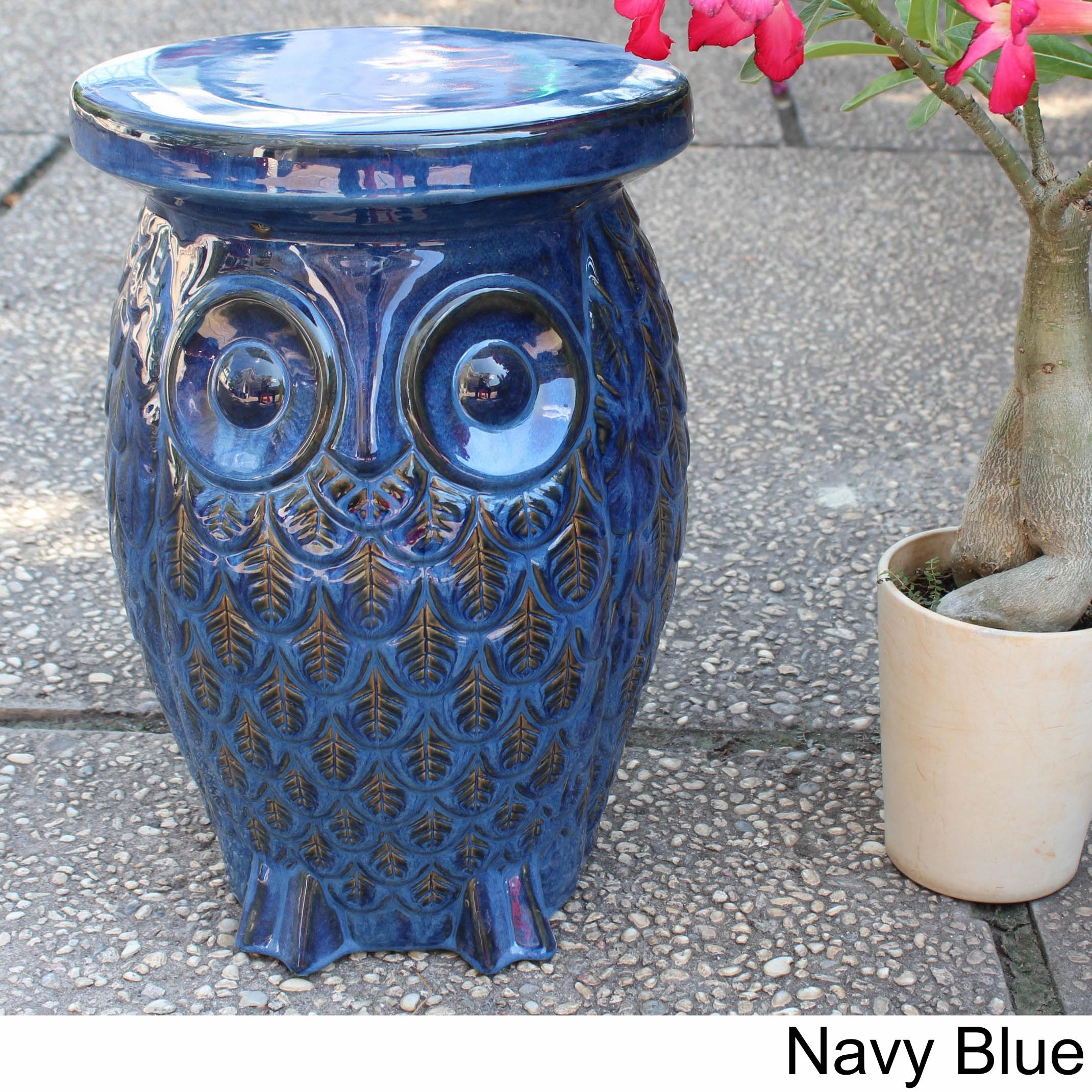 International Caravan Wise Old Owl Ceramic Garden Stool (...