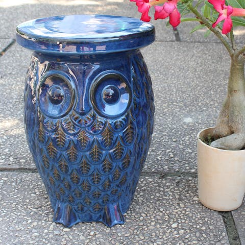 International Caravan Wise Old Owl Ceramic Garden Stool