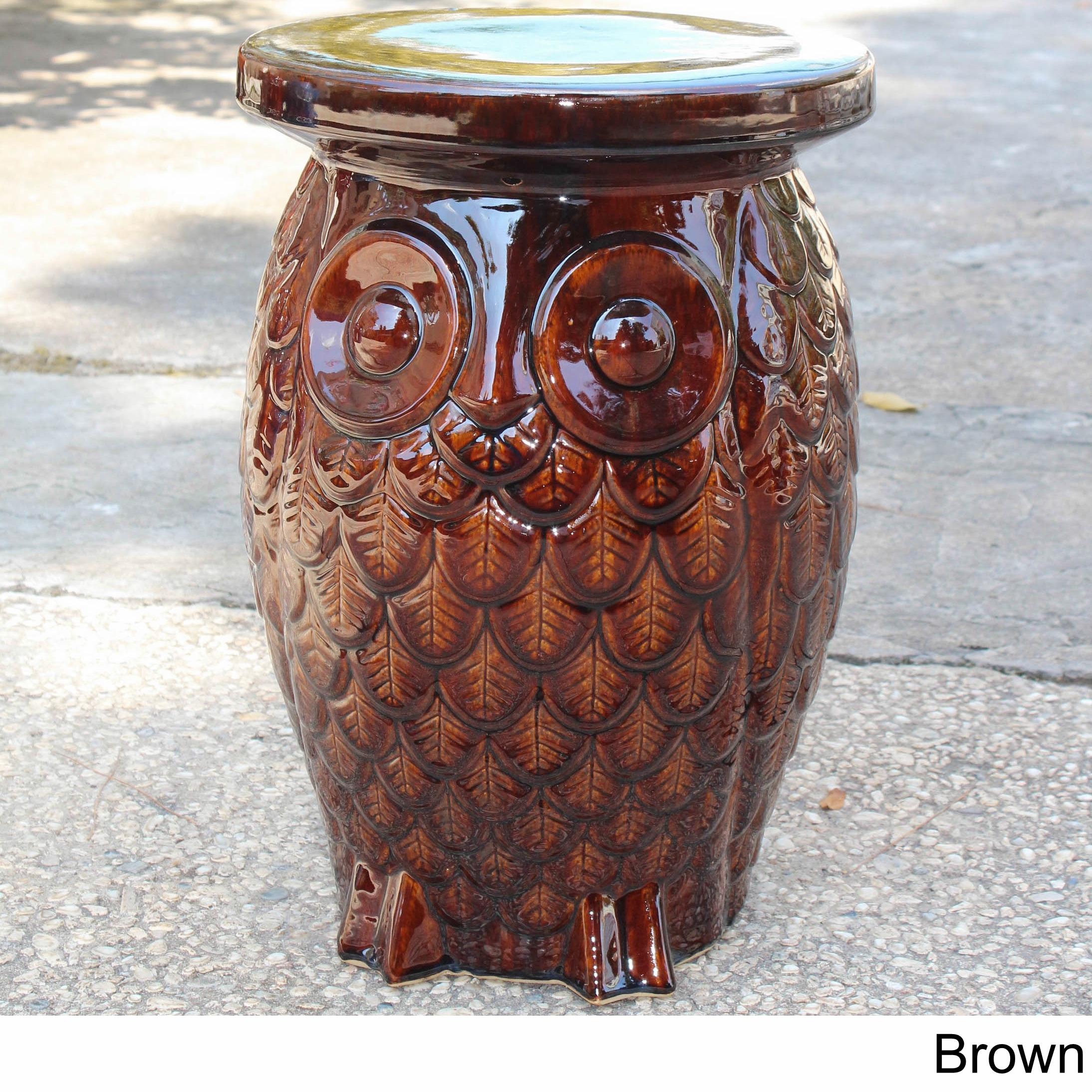 International Caravan Catalina Wise Owl Ceramic Garden Stool Brown ...