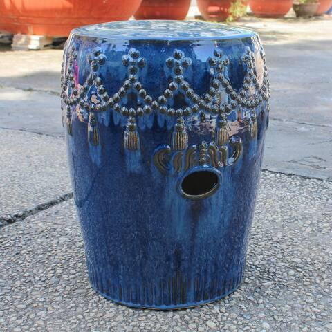 International Caravan Glazed Ceramic Tasseled Garden Stool