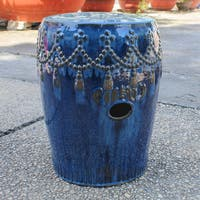 International Caravan Glazed Ceramic Tasseled Garden Stool