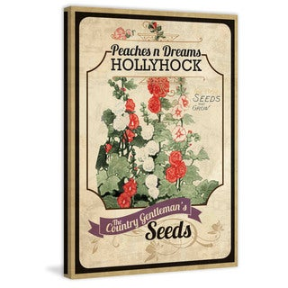 Marmont Hill - 'Flower Packet Hollyhock' Painting Print on Canvas