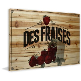 Marmont Hill - 'French Produce Strawberry' Painting Print on Natural Pine Wood