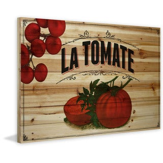 Marmont Hill - 'French Produce Tomato' Painting Print on Natural Pine Wood (3 options available)