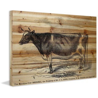 Marmont Hill - Handmade Ayrshire Cow Painting Print on Natural Pine Wood