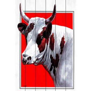 Marmont Hill - 'Journal Bull' Painting Print on White Wood
