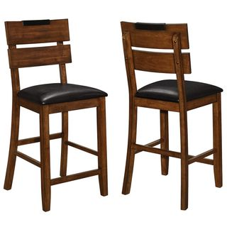 Sangarie Achitectural Hand Crafted Two Tone Design Counter Height Stools (Set of 2)