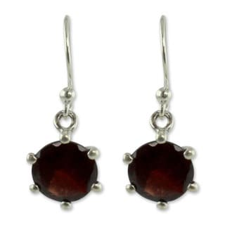 Sterling Silver 'Scarlet Solitaire' Garnet Earrings (India)