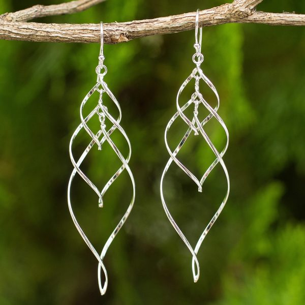 Handmade Sterling Silver 'Forever Linked' Earrings (Thailand)