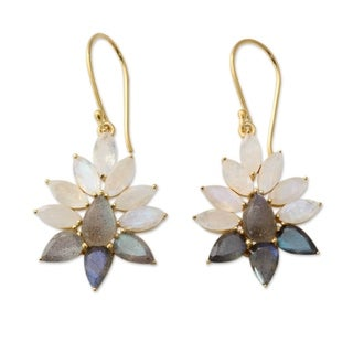 Gold Overlay 'Dawn Aura' Moonstone Labradorite Earrings (India)
