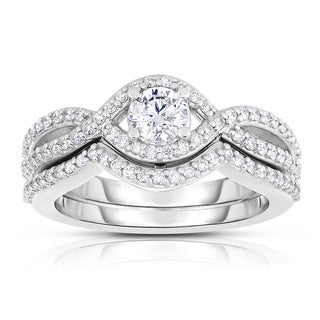 Eloquence 14k White Gold 1 1/3ct TDW Diamond Bridal Set