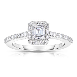 Eloquence 18k White Gold 1ct TDW Diamond Halo Engagement Ring - White H-I