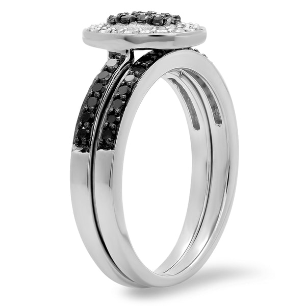 Sterling Silver 1//2 Ct Black Diamond Eternity Channel Band Fashion Ring 925