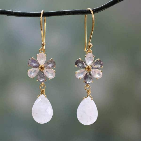 9f08675fd5 Handmade Gold Overlay 'Jaipur Allure' Moonstone Labradorite Earrings  (India). Breadcrumbs. Jewelry ...