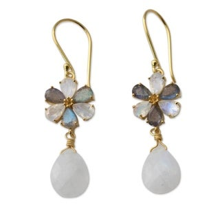 Gold Overlay 'Jaipur Allure' Moonstone Labradorite Earrings (India)
