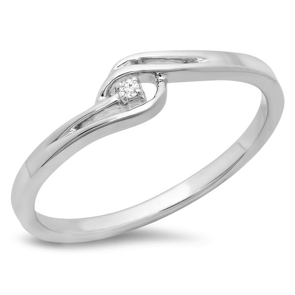b78e8e63642f0 Shop 10k White Gold Diamond Accent Bypass Solitaire Promise Ring ...
