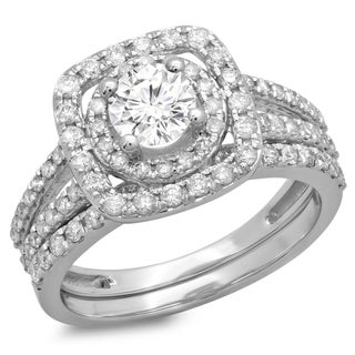 Elora 14k White Gold 1 1/2ct TDW Diamond Bridal Split Shank Halo Engagement Set (H-I, I1-I2)