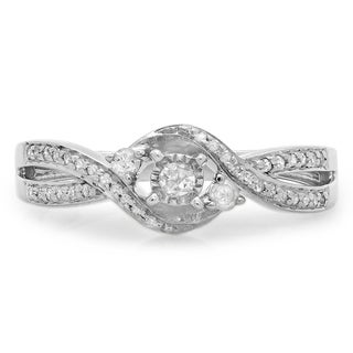Elora Sterling Silver 1/4ct TDW Diamond 3-stone Split Shank Twisted Engagement Promise Ring (I-J, I2-I3)
