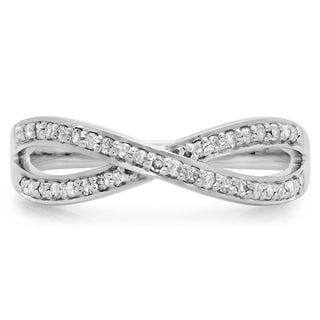 Elora Sterling Silver 1/5ct TDW Diamond Swirl Anniversary Stackable Ring (I-J, I2-I3)