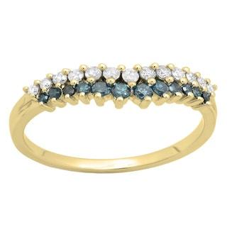 14k White Gold 2/5ct TDW White and Blue Diamond Stackable Band Chevron Ring (H-I, I1-I2)
