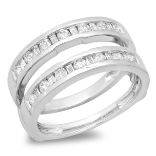 14k White Gold 3/4ct TDW Baguette Diamond Anniversary Wedding Double Ring (H-I, I1-I2)