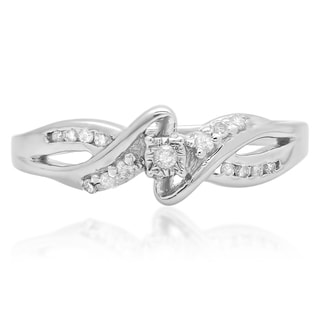 Elora Sterling Silver 1/6ct TDW Diamond Crossover Swirl Bypass Split Shank Bridal Promise Ring (I-J, I2-I3