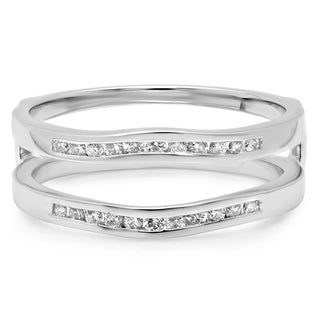 14k White Gold 1/4ct TDW Diamond Anniversary Wedding Band Enhancer Guard Ring (H-I, I1-I2)