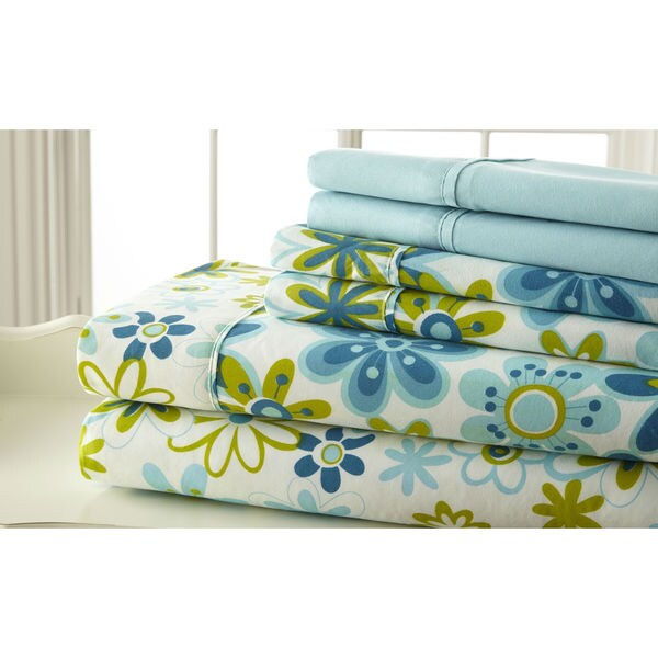 6-piece Luxurious 100GSM Printed Floral Sheet Set, Blue/ Green