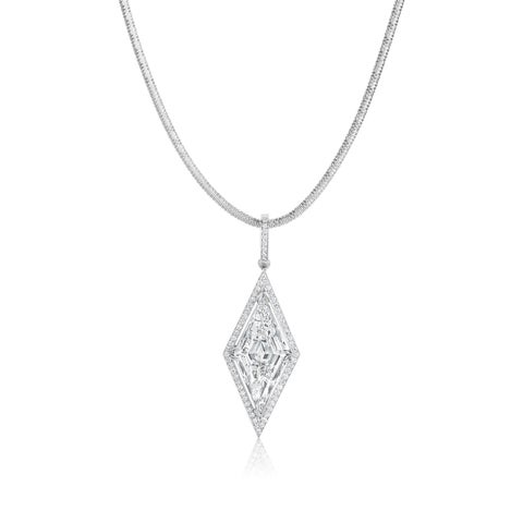 SummerRose Platinum Necklace 7 1/3ct TDW Diamond Pendant - White