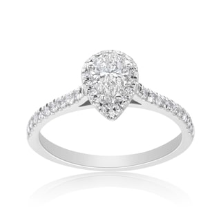 Andrew Charles 14k White Gold 3/4ct TDW Diamond Pear-cut Halo Ring (H-I, SI2-I1)