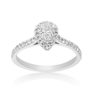 Andrew Charles 14k White Gold 3/4ct TDW Diamond Pear-cut Halo Ring