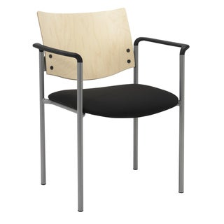 KFI Evolve Guest Chair with Arms and a Natural Wood Back