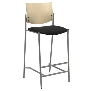 Evolve Natural Wood Back and Silver Frame Bar Stool