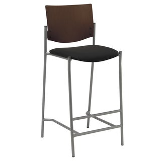 KFI Evolve Barstool with Silver Frame and a Chocolate Wood Back