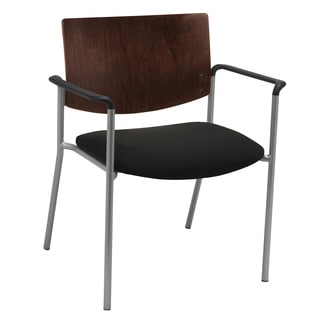 Evolve Series Armless Side/ Guest Chair with a Chocolate Wood Back with 400-pound weight capacity