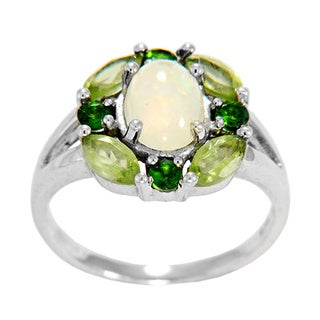 Sterling Silver Ethiopian Opal and Gemstone Ring