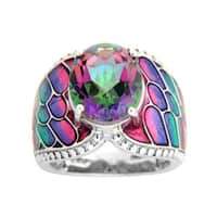 Sterling Silver Exotic Topaz and Enamel Ring