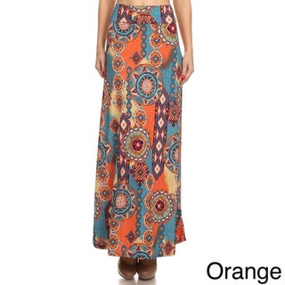 Moa Collection Women's Medallion Floral Maxi Skirt