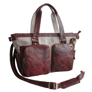 Amerileather Ostrich Print Two-Pocket Handbag