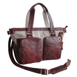 Amerileather Ostrich Print Two-Pocket Handbag