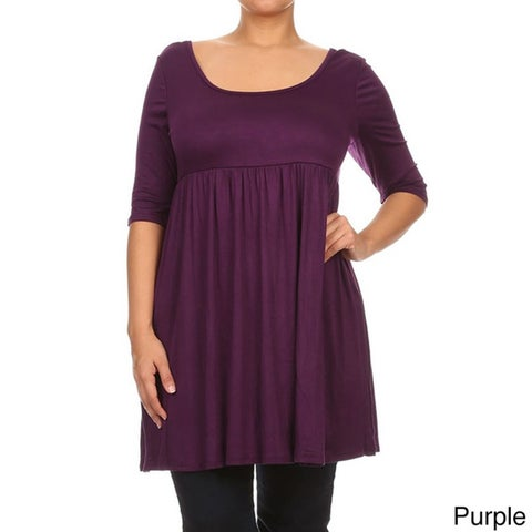 MOA Collection Women's Plus Size Empire Waist Solid Top