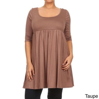 MOA Collection Women's Plus Size Empire Waist Solid Top (3 options available)