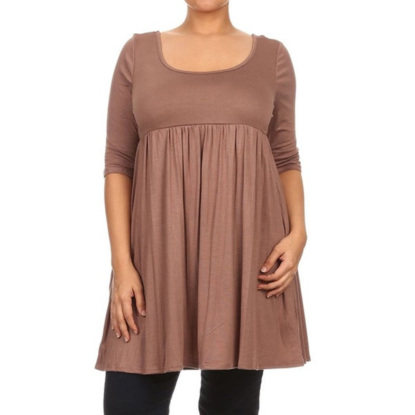 MOA Collection Women's Plus Size Empire Waist Solid Top ...