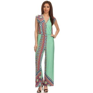 MOA Collection Women's V-Neck Print Jumpsuit