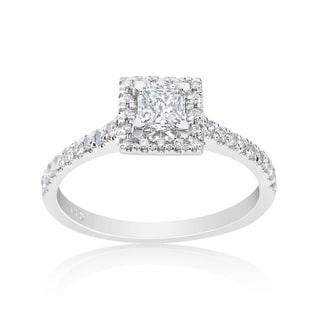 Andrew Charles 14k White Gold 3/4ct TDW Princess Halo Ring