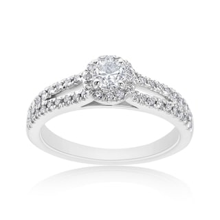 Andrew Charles 14k White Gold 5/8ct TDW Diamond Halo Ring (H-I, SI2-I1)